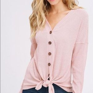 Listicle Pink ribbed button down stretch shirt new